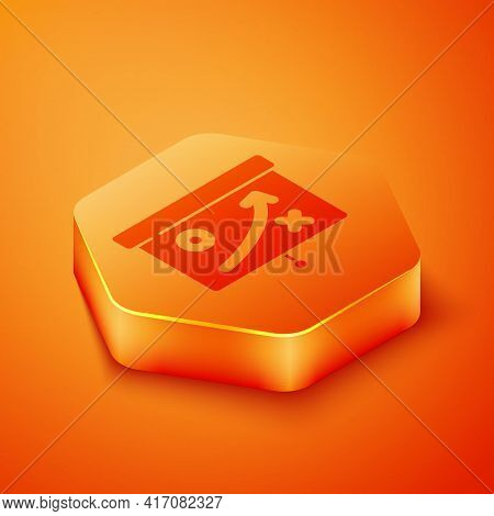 Isometric Planning Strategy Concept Icon Isolated On Orange Background. Cup Formation And Tactic. Or