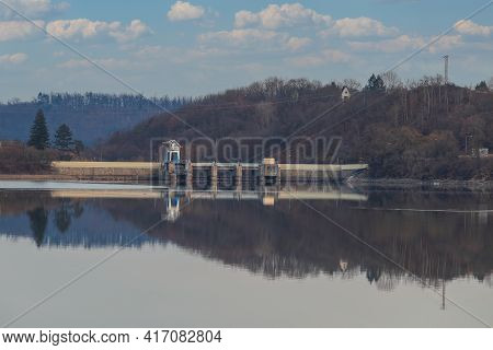 Quiet Level And Dam Of The Dam In The City Of Brno In The Czech Republic In Europe.