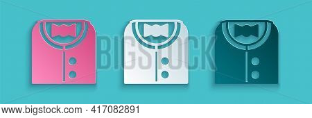 Paper Cut Suit Icon Isolated On Blue Background. Tuxedo. Wedding Suits With Necktie. Paper Art Style