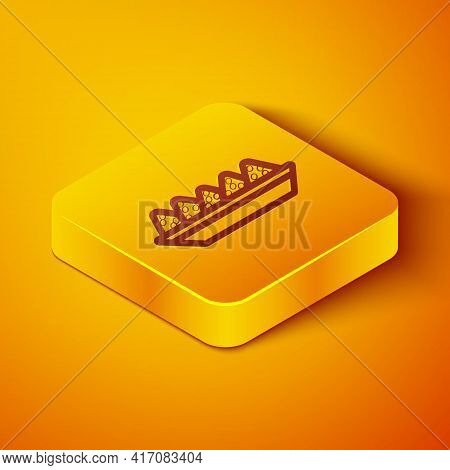 Isometric Line Nachos In Plate Icon Isolated On Orange Background. Tortilla Chips Or Nachos Tortilla
