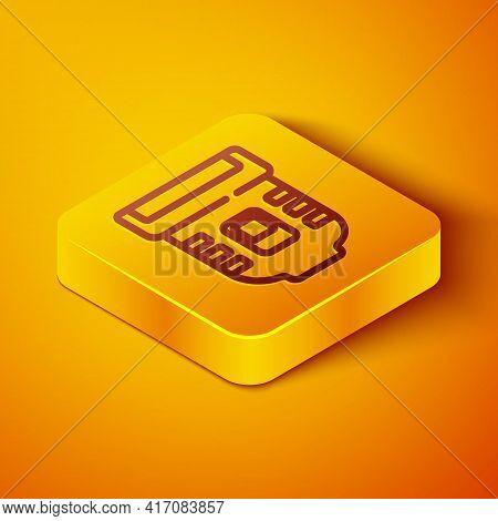 Isometric Line Epilator Icon Isolated On Orange Background. Depilation By Electric Razor. Hair Remov
