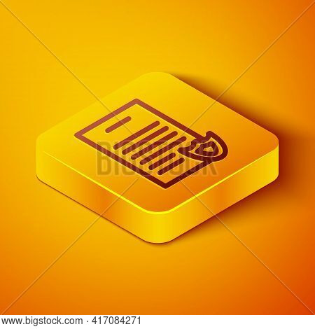 Isometric Line Firearms License Certificate Icon Isolated On Orange Background. Weapon Permit. Yello