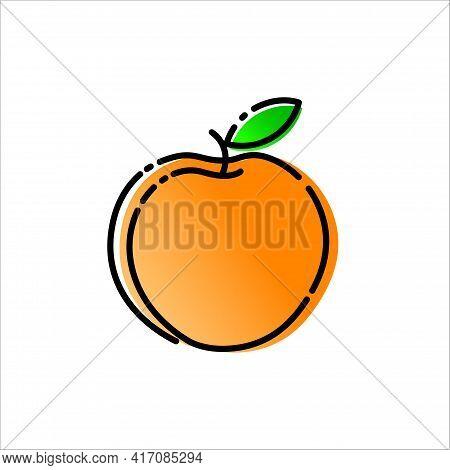 Logo Peach. Symbol Vector Design Illustration. Orange Peach.
