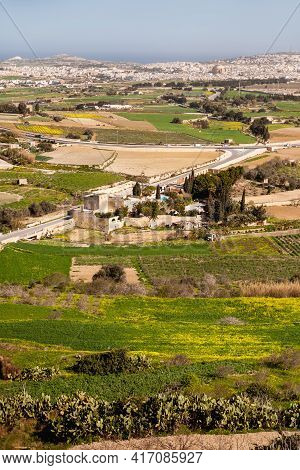 Aerial View On Grounds Around Mdina, Old Capital Of Malta Island. Panorama Of Agricultural Fields. C