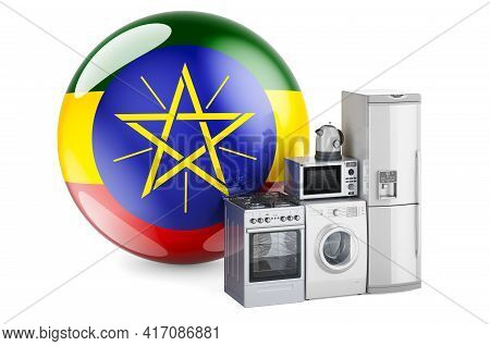 Kitchen And Household Appliances With Ethiopian Flag. Production, Shopping And Delivery Of Home Appl