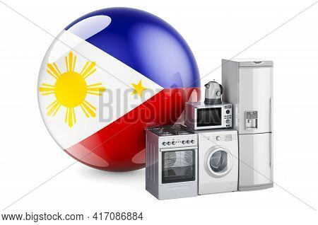Kitchen And Household Appliances With Filipino Flag. Production, Shopping And Delivery Of Home Appli