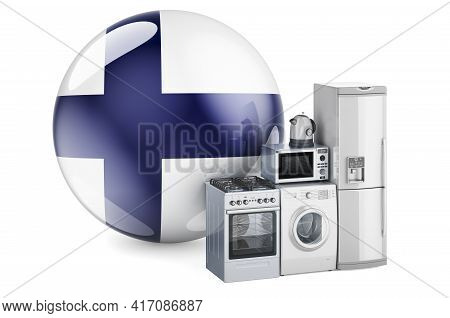 Kitchen And Household Appliances With Finnish Flag. Production, Shopping And Delivery Of Home Applia