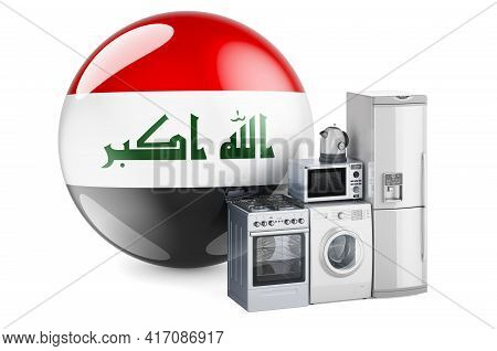 Kitchen And Household Appliances With Iraqi Flag. Production, Shopping And Delivery Of Home Applianc