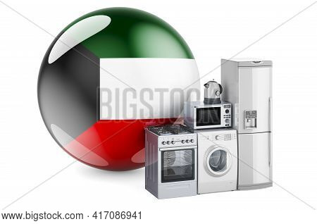 Kitchen And Household Appliances With Kuwaiti Flag. Production, Shopping And Delivery Of Home Applia
