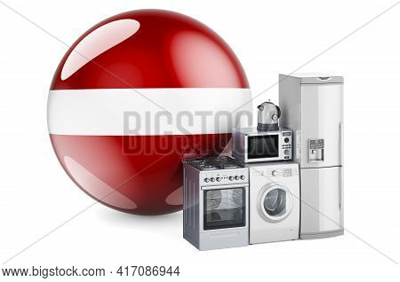 Kitchen And Household Appliances With Latvian Flag. Production, Shopping And Delivery Of Home Applia