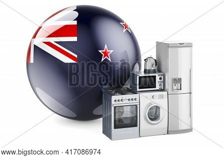 Kitchen And Household Appliances With New Zealand Flag. Production, Shopping And Delivery Of Home Ap
