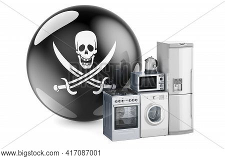 Kitchen And Household Appliances With Piracy Flag, 3d Rendering Isolated On White Background
