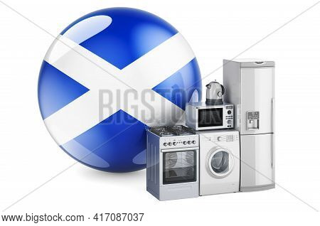 Kitchen And Household Appliances With Scottish Flag. Production, Shopping And Delivery Of Home Appli