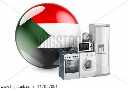 Kitchen And Household Appliances With Sudanese Flag. Production, Shopping And Delivery Of Home Appli