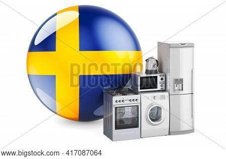 Kitchen And Household Appliances With Swedish Flag. Production, Shopping And Delivery Of Home Applia