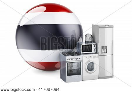 Kitchen And Household Appliances With Thai Flag. Production, Shopping And Delivery Of Home Appliance
