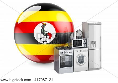 Kitchen And Household Appliances With Ugandan Flag. Production, Shopping And Delivery Of Home Applia