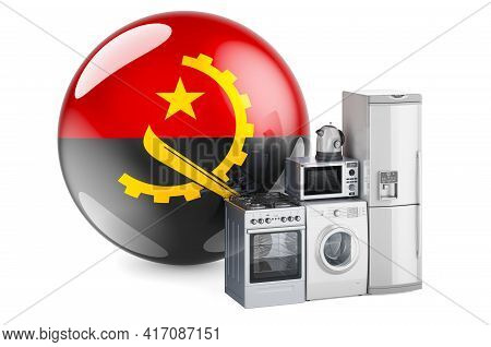 Kitchen And Household Appliances With Angolan Flag. Production, Shopping And Delivery Of Home Applia