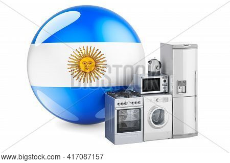 Kitchen And Household Appliances With Argentinean Flag. Production, Shopping And Delivery Of Home Ap