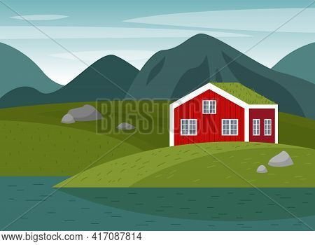Vector Scene With A Norwegian Landscape. Forest, Meadows, A Red House By The Water.