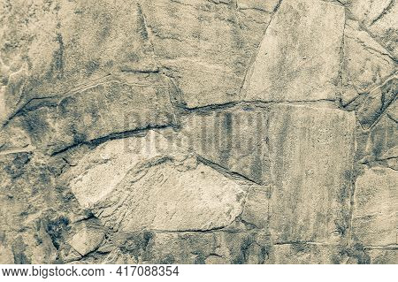 Background Of Stone Wall Texture. Black And White Photo Gray Wall