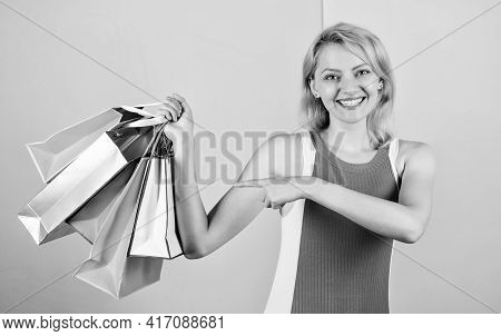 Retail And Consumerism. Ecology Impact. Satisfied With Her Shopping. Discounts And Loyalty Program.