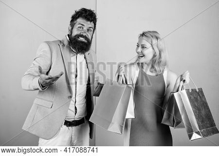 Shopaholic Girlfriend. Black Friday Concept. Woman On Shopping Tour. Family Budget. Man Girl With Pa