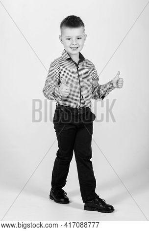 Kids Fashion. Small Businessman. Business School. Upbringing And Development. Confident Boy. Little