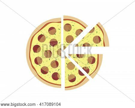 Pepperoni Pizza Isolated On White Background. Pizza Slice Top View. Vector Illustration.