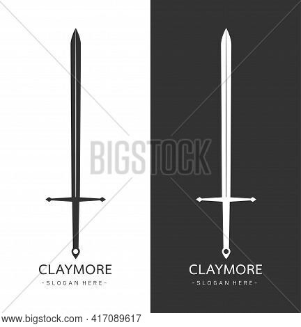 Stylized Image Of Claymore Sword Logo Template, Claymore Sword Silhouette Tattoo, Parry Claymore Swo