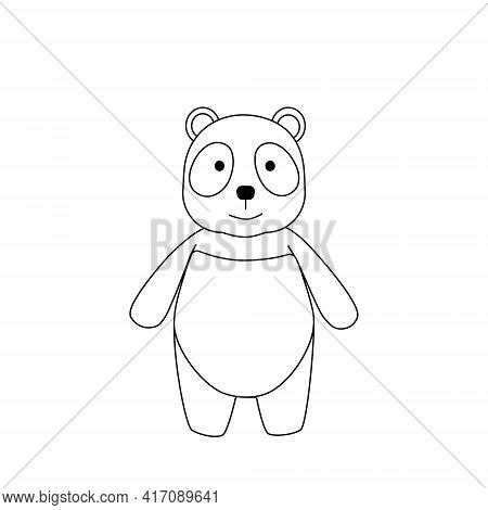 Simple Silhouette Of A Cartoon Panda. Primitive Outlines, A Funny Toy, A Fantasy. Cute Coloring Book