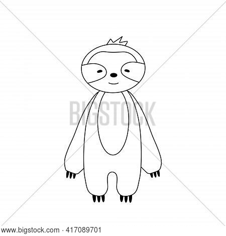 Simple Silhouette Of A Cartoon Sloth. Primitive Outlines, A Funny Toy, A Fantasy. Cute Coloring Book