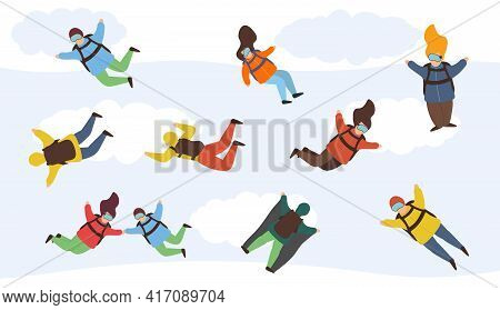Cartoon Skydivers. Sky Jump With Parachute And Paraglider. Flying With Parachutes Set, Extreme Parac