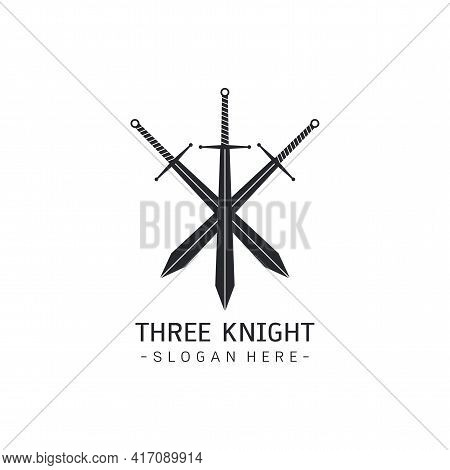 Stylized Image Of Three Swords Logo Template, Crossed Swords Silhouette Tattoo, Three Musketeers Con
