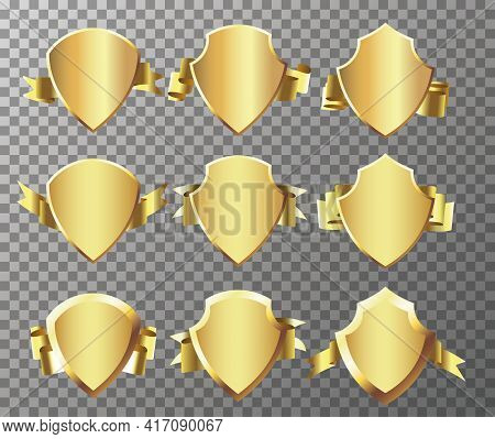 Wrapping Gold Banner Ribbons. Retro Vintage Golden Badges And Labels Collection.