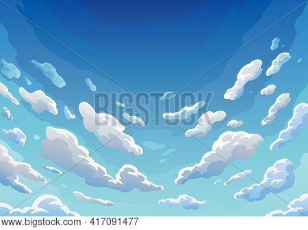 Sky Clouds. Morning Landscape With Clouds And Gradient Sky, Colorful Heaven Skies Background. Realis