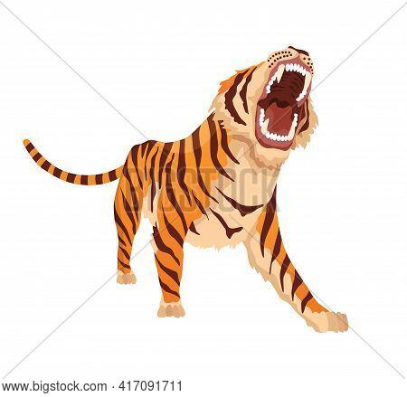 Adult Big Tiger. Angry Animal From Wildlife. Big Cat. Predatory Mammal. Painted Cartoon Animal Desig