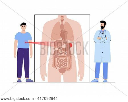 Pain Or Inflammation In Spleen. Cirrhosis Or Leukemia. Appointment With Doctor In Clinic. Ache In Ma