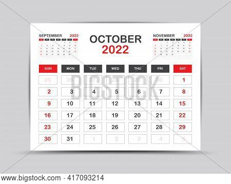 Calendar 2022 Template Minimal Style, October Month Artwork, Desk Calendar 2022 Year, Wall Calendar.