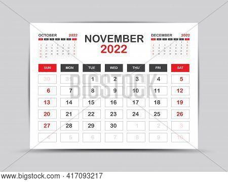 Calendar 2022 Template Minimal Style, November Month Artwork, Desk Calendar 2022 Year, Wall Calendar