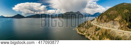 Aerial View Of The Sea To Sky Highway In Howe Sound, North Of Vancouver, British Columbia, Canada. T