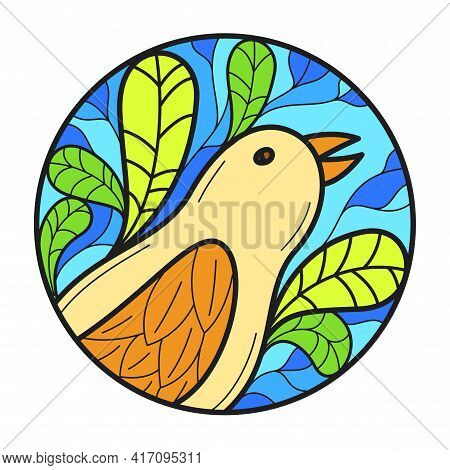 Small Cute Bird Among Leaves Round Floral Vintage Linear Logo Design Template For Perfume Or Fashion