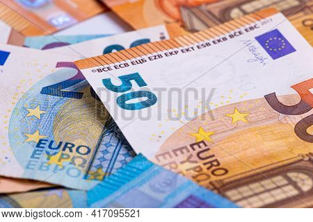 Pattern From Euro Banknotes, Euro Banknote As Part Of The Economic And Trading System, Close-up
