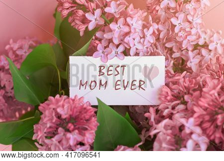 Beautiful Spring Bouquet Of Lilac Flowers And Gift Cardboard White Card With The Inscription Best Mo
