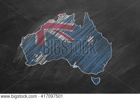 Country Map And Flag Of Australia Drawing With Chalk On A Blackboard. One Of A Large Series Of Maps