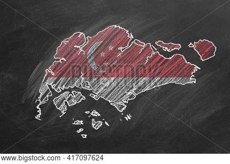 Country Map And Flag Of Singapore Drawing With Chalk On A Blackboard. One Of A Large Series Of Maps