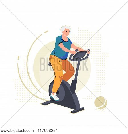 Elderly Senior Woman On Exercise Bike. Home Workout Training On Stationary Bicycle. Sport Indoor Ret