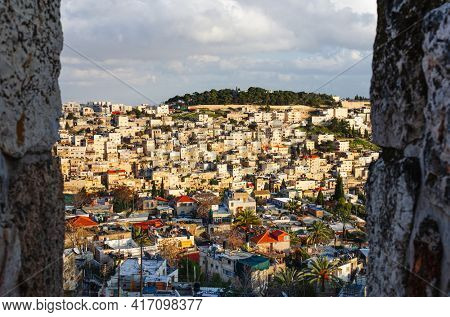 Neighborhood on the hillside of Mount of Olives in Jerusalem, Israel.