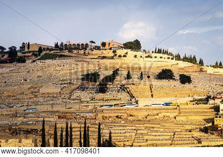 Jerusalem, Israel hillside cemeteries on Mt. Of Olives.