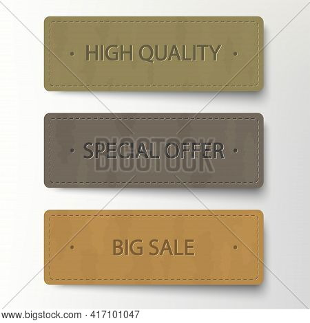 Cardboard Banner, Discount Sticker Set. Sale Leather Banners, Price Tags. Vector